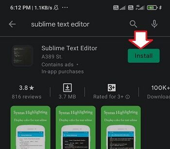sublime text editor mobile app